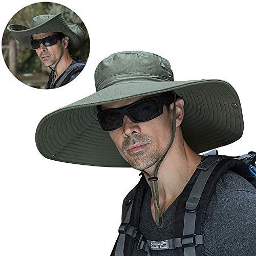 - Peicees Super Wide Brim Sun Hat, UPF 50+ UV Protecton Fishing Hat, Waterproof Bucket Hat, Summer Outdoor Safari Cowboy Hat for Men Women Hiking Camping Hunting Adventure (Style2-Army Green)