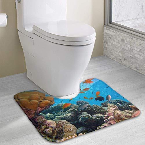 Beauregar Diving Contour Bath Rugs,U-Shaped Bath Mats,Soft Memory Foam Bathroom Carpet,Nonslip Toilet Floor Mat 19.2″x15.7″
