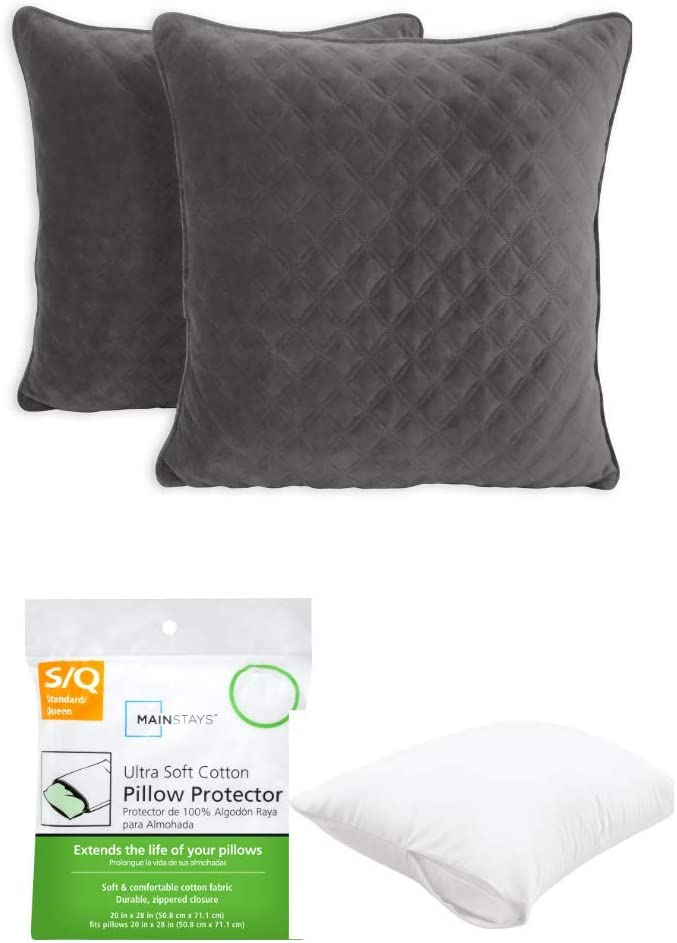 """Better Homes & Gardens Quilted Velvet 19"""" x 19"""" Decorative Throw Pillow in Soot Gray, 2 Pack with Pillow Protector"""