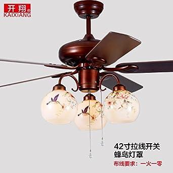 Chinesische Malte Blätter Von Vogel Und Blume Fan Leichte Fernbedienung  Stumm Deckenventilator Licht LED Lüfter Kronleuchter