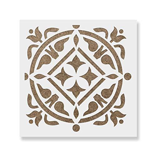 Maria Tile Stencil - Laser-Cut Reusable Floor Stencil & Backsplash Tile Stencils for Home Decor, Furniture, and Walls - 6