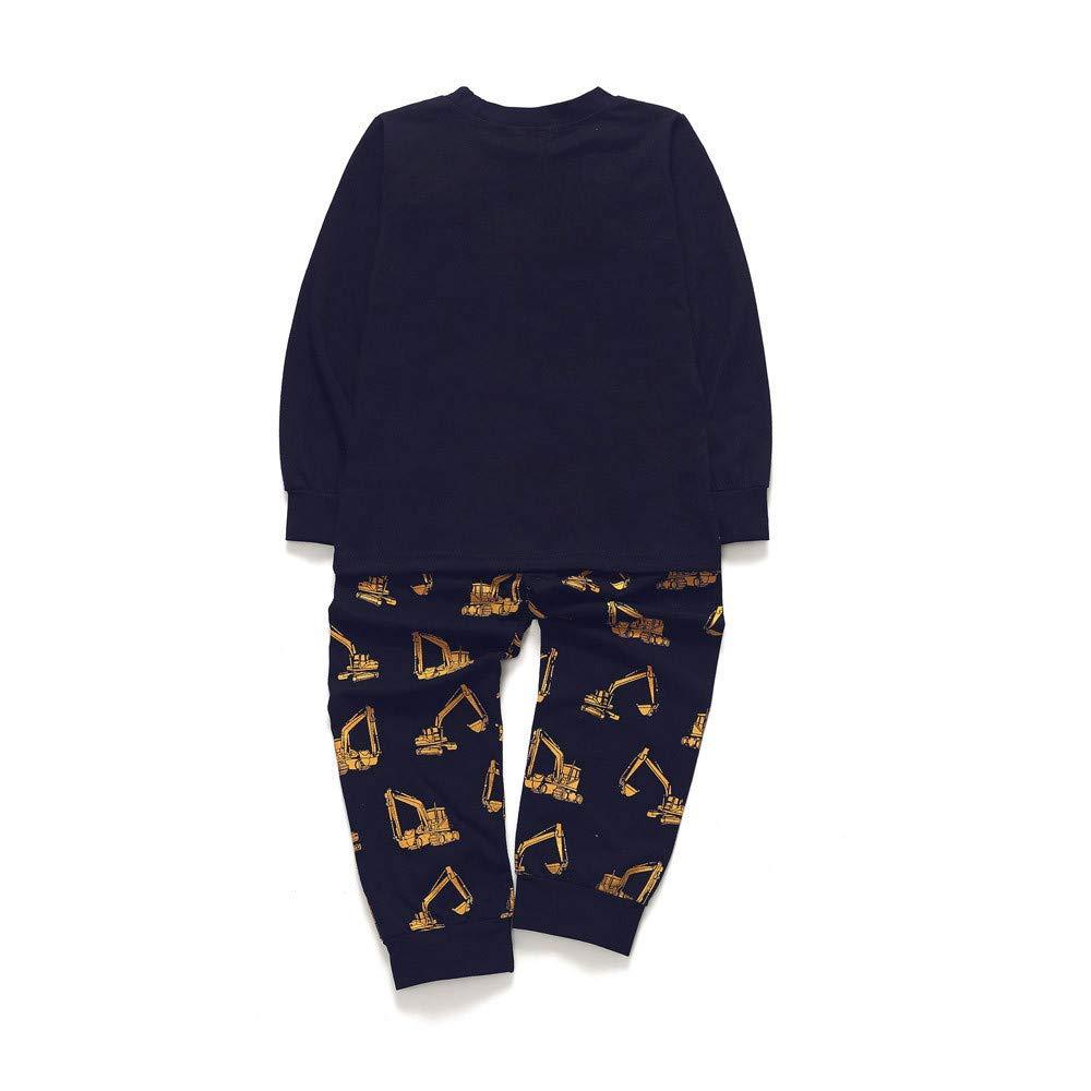 DIGOOD Toddler Baby Boys Girls 2Pcs Outfits Autumn Winter Clothes,Cartoon Excavator Long Sleeve T-Shirt Tops+Pants Sets