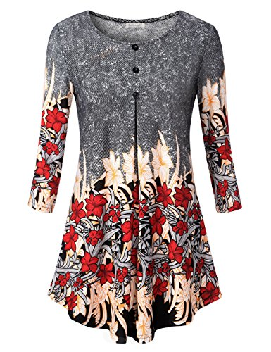 (Ladies Boat Neck Floral Top,Floral Printed Summer Long Sleeve Loose Fit Flowy Pleated Hem T-Shirt Tunic Blouse Tops Red Floral L)