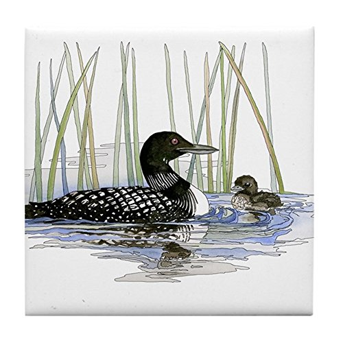 CafePress - Loon And Baby - Tile Coaster, Drink Coaster, Small (Baby Tile Coaster)