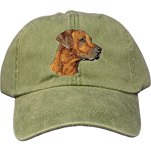 - Cherrybrook Dog Breed Embroidered Adams Cotton Twill Caps - Spruce - Rhodesian Ridgeback