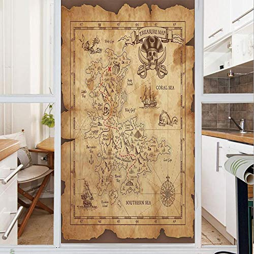 Decorative Window Film,No Glue Frosted Privacy Film,Stained Glass Door Film,Super Detailed Treasure Map Grungy Rustic Pirates Gold Secret Sea History Theme,for Home & Office,23.6In. by 59In Beige Brow