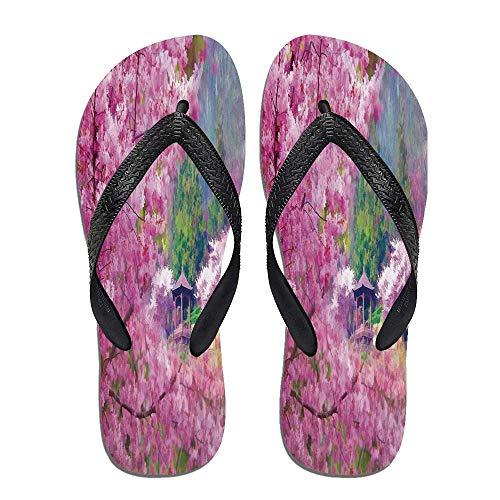 (TecBillion House Decor Thong Flip Flops,Landscape with Sakura,for)