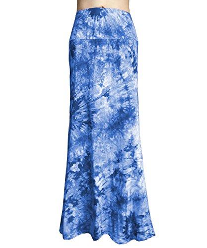 YiLiQi WomensTieDyeFoldOverMaxiSkirt-HighWaistLongSkirt White-Blue-L - Waist Skirt Over Fold