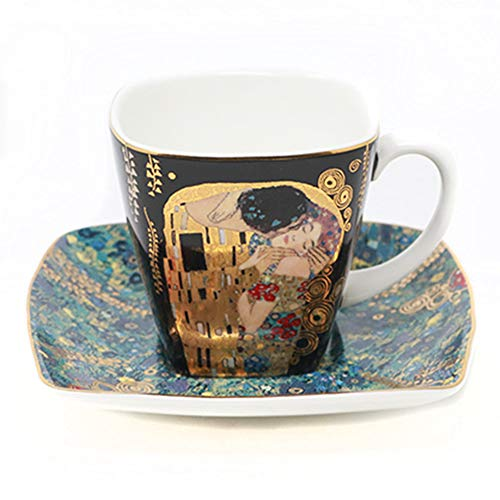 Demitasse Germany (Goebel | Espresso Set | Gustav Klimt | 3.5x3.5x2.5 inches | Made in Germany (The Kiss))