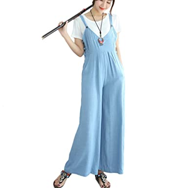e8230f0b1e8 Amazon.com  Women s Summer Casual Bib Overalls Loose Cotton Linen Jumpsuit  Wide Leg Pants Romper (Baby Blue)  Clothing