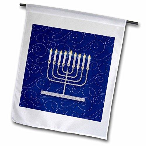 3dRose Doreen Erhardt Hanukkah Collection - Silver Faux Glitter Menorah Festival of Lights Hanukkah on Blue - 12 x 18 inch Garden Flag (fl_264277_1)