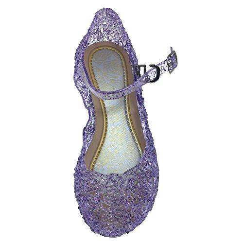 Tyidalin Mädchen Ballerinas Kinder Prinzessin Königin Kostüm Schuhe Sandalen Absatz Schöne Verkleidung Weihnachten Violett EU28-33
