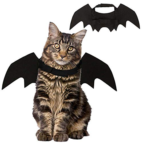 PIVBY Cat Christmas Costume Pet Headband Bat Wings Apparel Dress up Cat Kitty Small Dogs for Halloween and Christmas Festival- Black -
