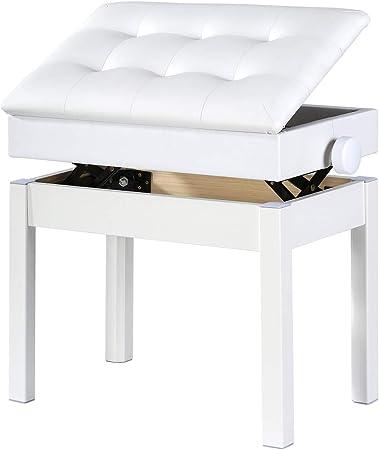 Doubleblack Banco Piano Banqueta Silla para Teclado Coj/ín de Piel Sint/ética Asiento Pies de Madera Maciza Pies y Marco 45 x 31 x 47,5 CM Negro