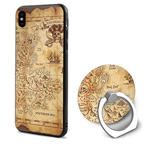 Super Detailed Treasure Map iPhone X Mobile Phone Case 360 Degree Shell Ring Kickstand for Reading E-Books Watching Video Amusement
