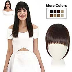 REECHO Fashion One Piece Clip in Hair Bangs/Fringe/Hair Extensions Color Dark Brown
