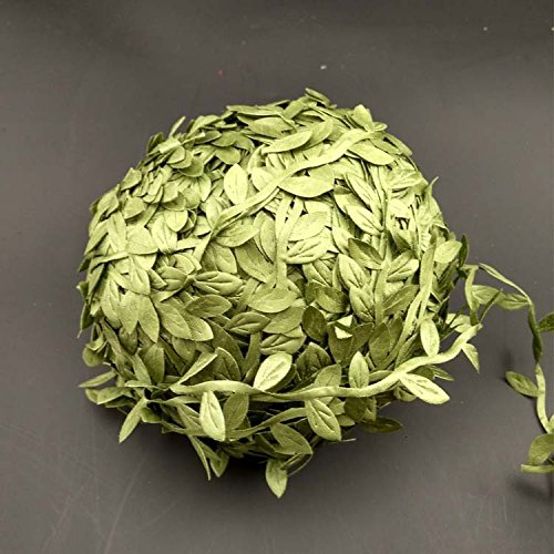 Artificial Olive Green Leaves Leaf Trim Ribbon -20 Yards - for DIY Craft Party Wedding Home Decoration