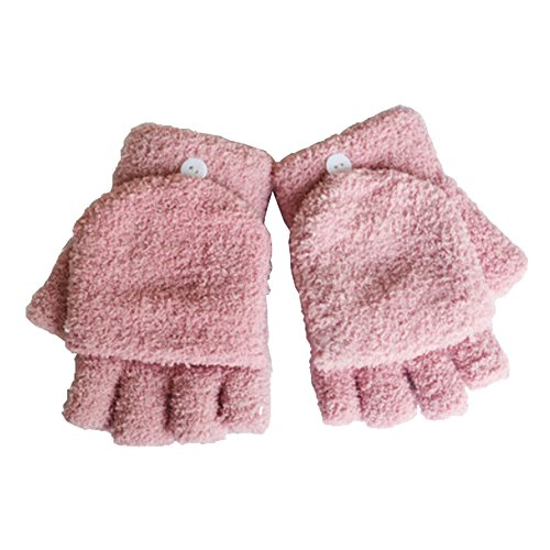 怒ってマニフェストブレース女性用/ Girls指なしミトンカバーPlush手袋、ピンク