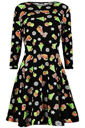 Oops Outlet - Vestido para mujer (manga larga, tallas de S a XXL), diseño navideño Tree and Snow Black