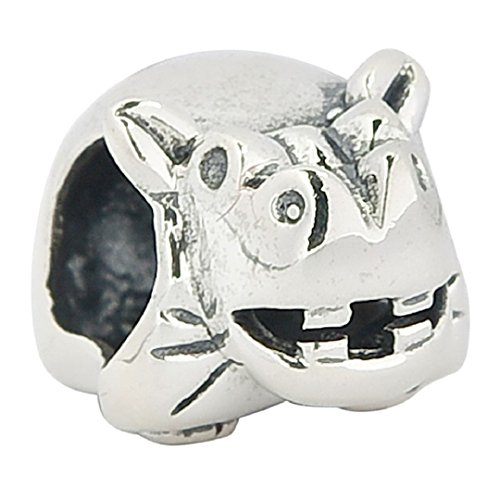 925 Sterling Silver Hippo Animals & Pets Charm Bead Fits European Charms -