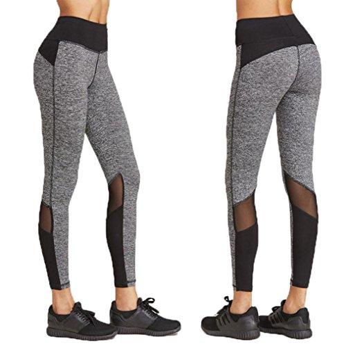Women Leggings, Gillberry Women Sports Trousers Athletic Gym Workout Fitness Yoga Leggings Pants (S, Gray+Black)