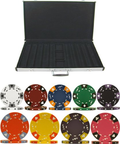 Tri-Color ACE King Clay 14gm 1000 Chip Poker Set with Aluminum Case
