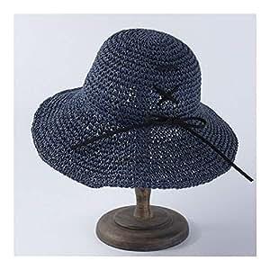 SHENTIANWEI Summer hat Female Simple Wild Folding Straw hat Sun Visor Student Travel hat (Color : Navy)