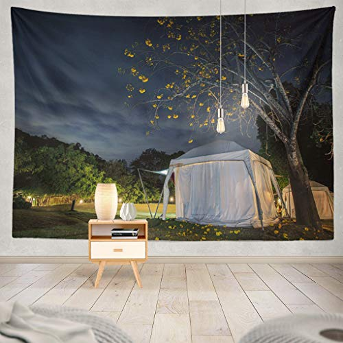 ASOCO Camping-Night-Sky Tapestry, Tapestry Wall Hanging African Safari Camping Tent and Beautiful Blue Night Sky Camp Wall Tapestry for Bedroom Living Room Tablecloth Dorm 80