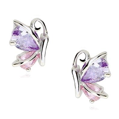 Anik Sunny Fashion Flower 925 Silver Stud Earrings with Cute Small Swarovski Elements Crystal Women rioPT9