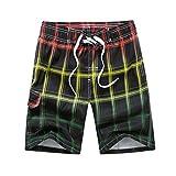 cc1b71a71e ZhixiaYS Men Colored Grid Beach Shorts Quick Dry Shorts Swimsuit Swimming  Trunks Sportswear