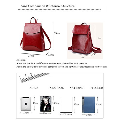 Bag Leather Soft Black BookBag Backpack Campus Yoome Women for Shoulder Vintage wABWqcvFX