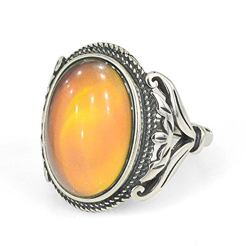 Sterling Silver Multi Color Stone - Fun Jewels Burnished Sterling Silver Multi Color Change Oval Stone Mood Ring Size Adjustable
