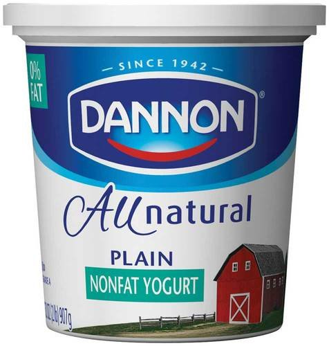 Dannon All Natural Quart Plain Nonfat Yogurt, 32 Ounce - 6 per case.