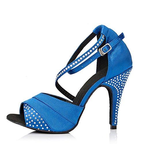 Minishion Vrouwen Th066 Mode Strass Satijn Dansschoenen Avondfeest Bruiloft Sandalen Blauw