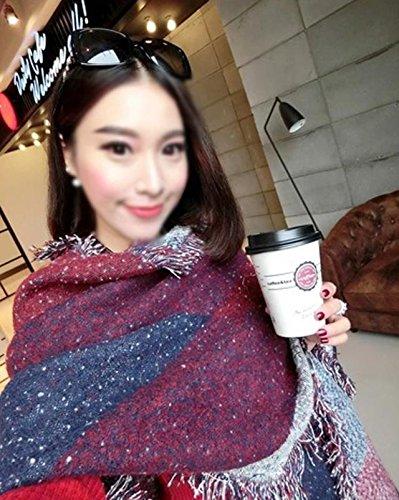 Écharpe Épaisse Tempérament Et Chaud Cachemire Rouge Noir Oblique Gamme Blanc Haut Abby En De Vin Automne Du Gris Châle Hiver 7wfPqa