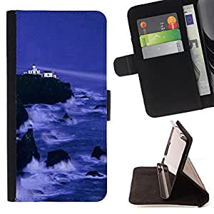 BullDog Case - FOR/Samsung Galaxy S5 Mini, SM-G800 / - / Nature Cliff Castle /- Monedero de cuero de la PU Llevar cubierta de la caja con el ID Credit Card Slots Flip funda de cuer