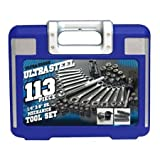 Ultra Steel, 113- Pieces Mechanics Tool Set Elemental Component to Any Artisan or Handyman's Workshop. by Ultra Steel