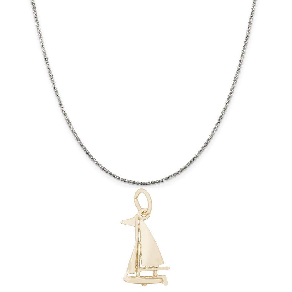 Rembrandt Charms Two-Tone Sterling Silver Sloop Sailboat Charm on a Sterling Silver 16 Box or Curb Chain Necklace 18 or 20 inch Rope