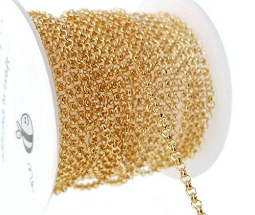 10ft (3.1m) Light Gold Rolo Chain- Mini Spool-Jewelry Making 2mm