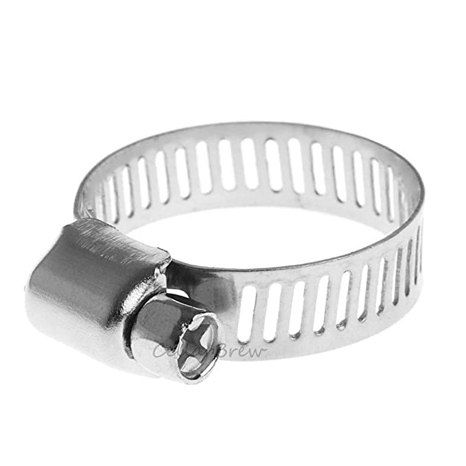 15pcs Adjustable Worm Gear Stainless Steel Power Seal Water Pipe Fuel Line Clips Cellarbrew 12-16mm Hose Clamp