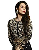 New Indian/Pakistani Designer Georgette Party Wear Anarkali Suit VF-3 (X-SMALL-36, Black)