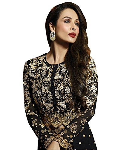 New Indian/Pakistani Designer Georgette Party Wear Anarkali Suit VF-3 (MEDIUM-40, Black)