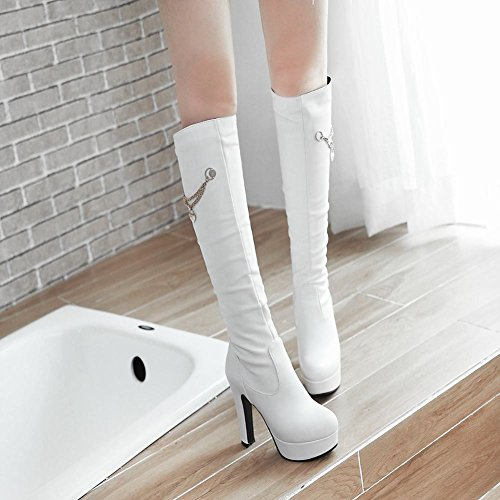 Scarpe Stivali MissSaSa Tacco Dolce Elegante col Alto e Donna bainco 6UTPw5