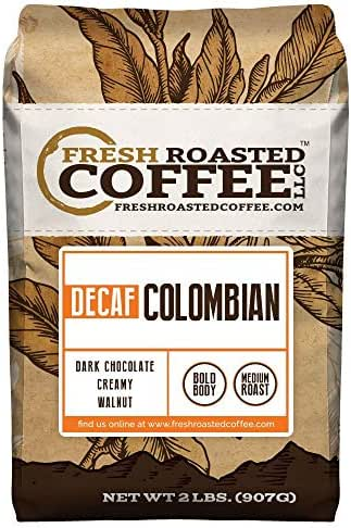 100% Colombian Decaf Coffee, Whole Bean Bag, Fresh Roasted Coffee LLC. (2 LB.)