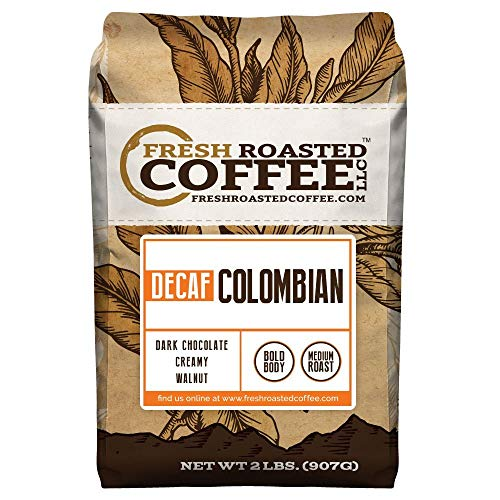 100% Colombian Decaf Coffee, Whole Bean Bag, Fresh Roasted Coffee LLC. (2 LB.)