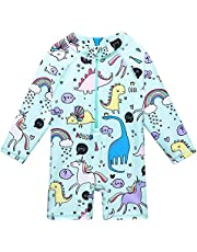 XIAOFEIGUO Baby Girls Swimsuit One Piece Long Sleeve Rash Guard Shirts Quick-Dry Bathing Suit