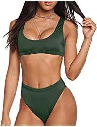 Two Pieces Bikini Sets Swimsuit Sports Style Low Scoop...