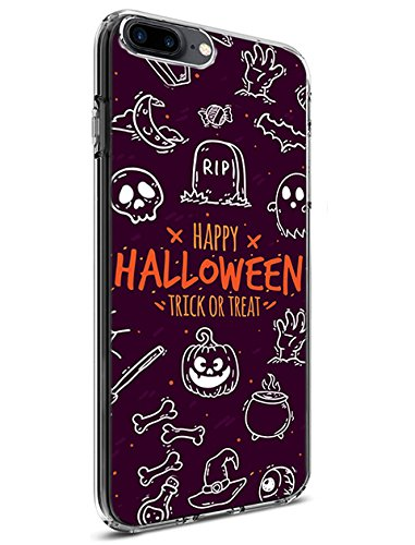 Cute Case with TPU Protective Bumper Cover for Apple iPhone 7 Plus &iPhone 8 Plus (2016/2017) Doodle on Halloween Theme Purple ()