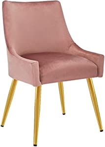 CangLong Velvet Upholstered Dining Chair for Dining Room Accent Leisure Side with Metal Legs, Pink