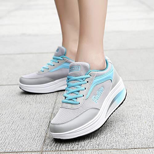 Cinnamou Sneakers Walking Ligeros Azul para Calzado Transpirables Zapatillas Loafer Mujer para Huecos Slip Malla Caminar Zapatos Deportiva on de zT7znrwq